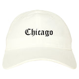 Chicago Illinois IL Old English Mens Dad Hat Baseball Cap White