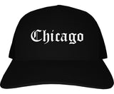 Chicago Illinois IL Old English Mens Trucker Hat Cap Black