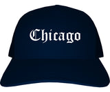 Chicago Illinois IL Old English Mens Trucker Hat Cap Navy Blue