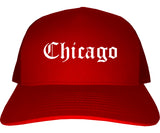 Chicago Illinois IL Old English Mens Trucker Hat Cap Red