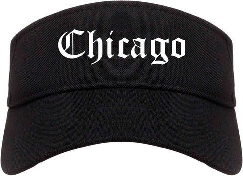 Chicago Illinois IL Old English Mens Visor Cap Hat Black