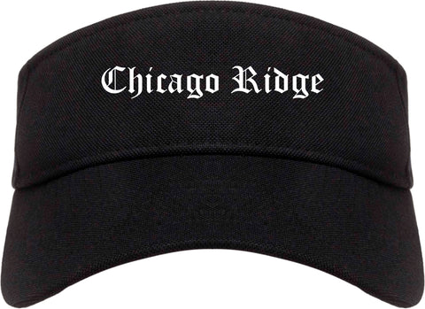 Chicago Ridge Illinois IL Old English Mens Visor Cap Hat Black