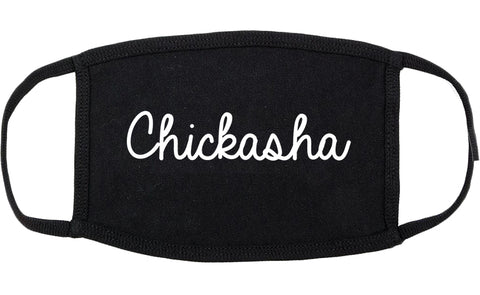 Chickasha Oklahoma OK Script Cotton Face Mask Black