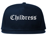 Childress Texas TX Old English Mens Snapback Hat Navy Blue