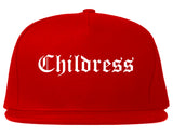 Childress Texas TX Old English Mens Snapback Hat Red