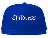 Childress Texas TX Old English Mens Snapback Hat Royal Blue