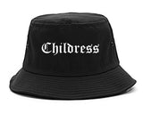 Childress Texas TX Old English Mens Bucket Hat Black