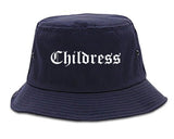 Childress Texas TX Old English Mens Bucket Hat Navy Blue