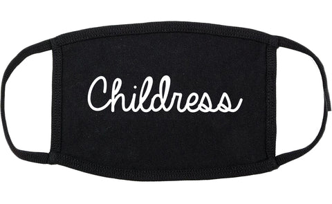 Childress Texas TX Script Cotton Face Mask Black
