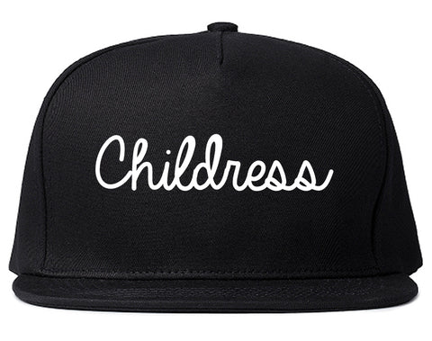 Childress Texas TX Script Mens Snapback Hat Black