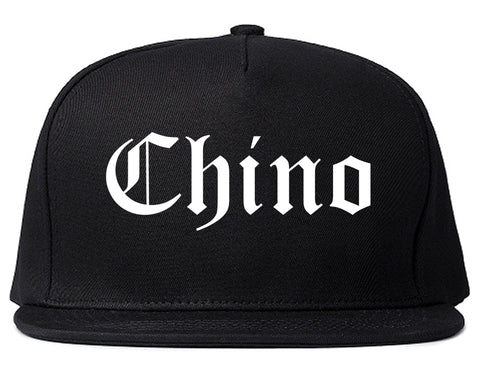 Chino California CA Old English Mens Snapback Hat Black