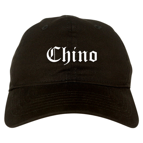 Chino California CA Old English Mens Dad Hat Baseball Cap Black