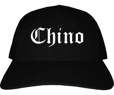 Chino California CA Old English Mens Trucker Hat Cap Black