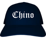 Chino California CA Old English Mens Trucker Hat Cap Navy Blue