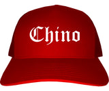 Chino California CA Old English Mens Trucker Hat Cap Red