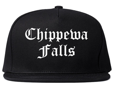 Chippewa Falls Wisconsin WI Old English Mens Snapback Hat Black