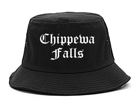 Chippewa Falls Wisconsin WI Old English Mens Bucket Hat Black