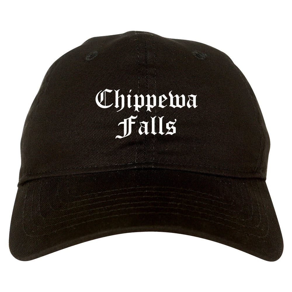Chippewa Falls Wisconsin WI Old English Mens Dad Hat Baseball Cap Black