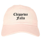 Chippewa Falls Wisconsin WI Old English Mens Dad Hat Baseball Cap Pink