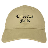 Chippewa Falls Wisconsin WI Old English Mens Dad Hat Baseball Cap Tan