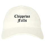 Chippewa Falls Wisconsin WI Old English Mens Dad Hat Baseball Cap White