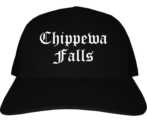 Chippewa Falls Wisconsin WI Old English Mens Trucker Hat Cap Black