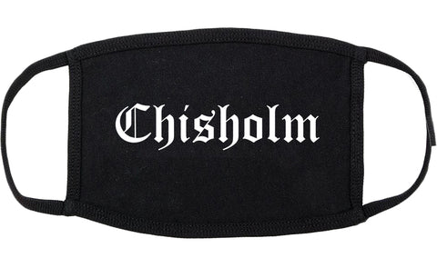 Chisholm Minnesota MN Old English Cotton Face Mask Black