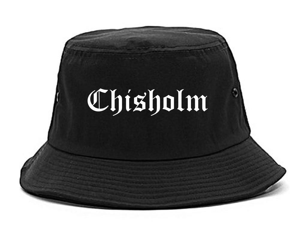 Chisholm Minnesota MN Old English Mens Bucket Hat Black