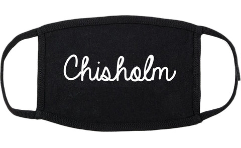 Chisholm Minnesota MN Script Cotton Face Mask Black