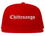 Chittenango New York NY Old English Mens Snapback Hat Red
