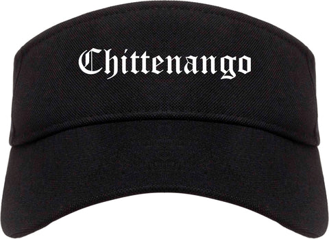 Chittenango New York NY Old English Mens Visor Cap Hat Black