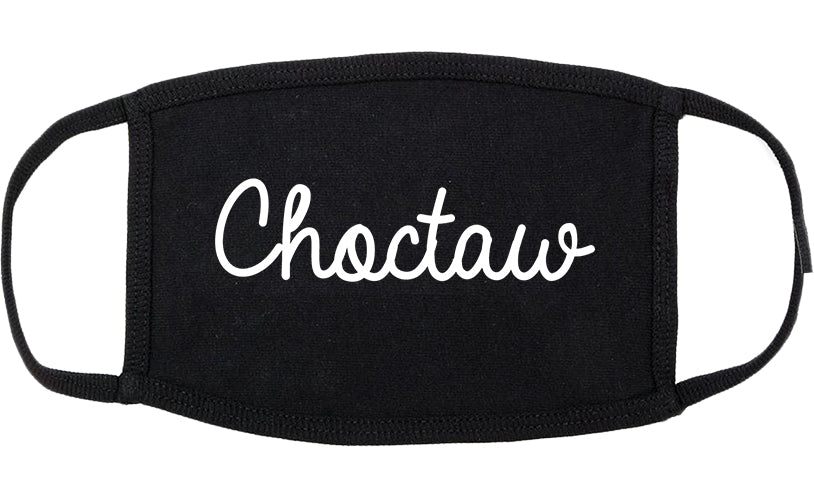 Choctaw Oklahoma OK Script Cotton Face Mask Black
