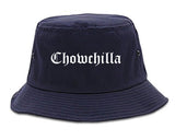 Chowchilla California CA Old English Mens Bucket Hat Navy Blue