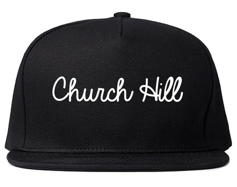 Church Hill Tennessee TN Script Mens Snapback Hat Black