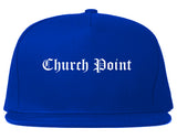 Church Point Louisiana LA Old English Mens Snapback Hat Royal Blue