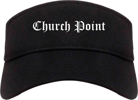 Church Point Louisiana LA Old English Mens Visor Cap Hat Black
