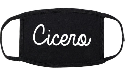 Cicero Indiana IN Script Cotton Face Mask Black