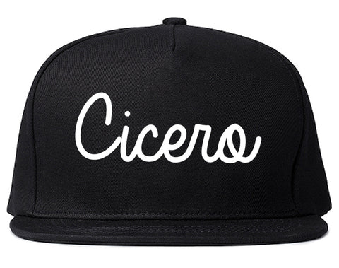 Cicero Indiana IN Script Mens Snapback Hat Black