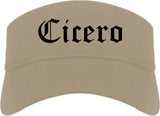 Cicero Indiana IN Old English Mens Visor Cap Hat Khaki