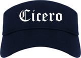 Cicero Indiana IN Old English Mens Visor Cap Hat Navy Blue