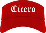 Cicero Indiana IN Old English Mens Visor Cap Hat Red