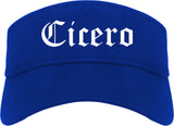 Cicero Indiana IN Old English Mens Visor Cap Hat Royal Blue