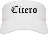 Cicero Indiana IN Old English Mens Visor Cap Hat White