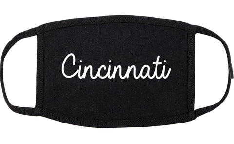 Cincinnati Ohio OH Script Cotton Face Mask Black