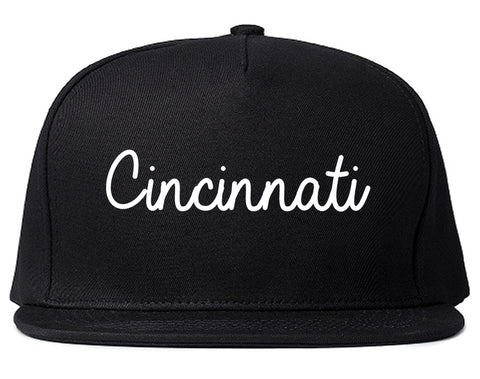 Cincinnati Ohio OH Script Mens Snapback Hat Black
