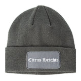 Citrus Heights California CA Old English Mens Knit Beanie Hat Cap Grey