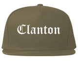 Clanton Alabama AL Old English Mens Snapback Hat Grey