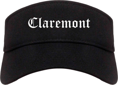 Claremont New Hampshire NH Old English Mens Visor Cap Hat Black
