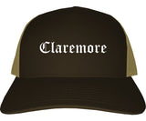 Claremore Oklahoma OK Old English Mens Trucker Hat Cap Brown