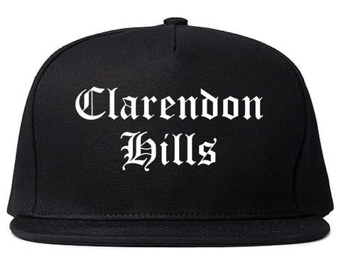 Clarendon Hills Illinois IL Old English Mens Snapback Hat Black